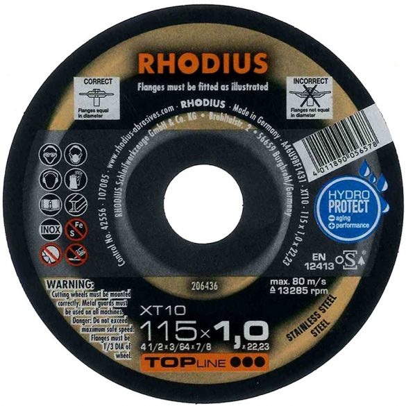 RHODIUS XT 10 vékony vágótárcsa 115 x 1,0 mm