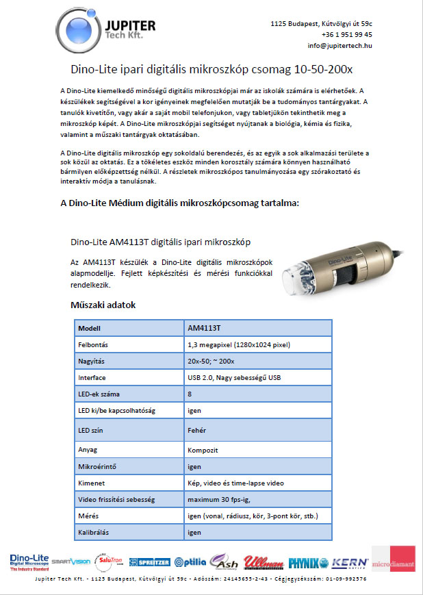 Dino-Lite ipari mikroszkóp csomag